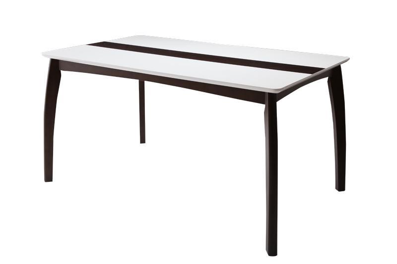 送料無料 ダイニングテーブル単品 幅135cm 4人掛け 4人用 モダンデザインダイニング エルサ テーブル 食卓テーブル 木製テーブル ホワイト鏡面 脚部 無垢材 ウッドライン 高級感 おしゃれ