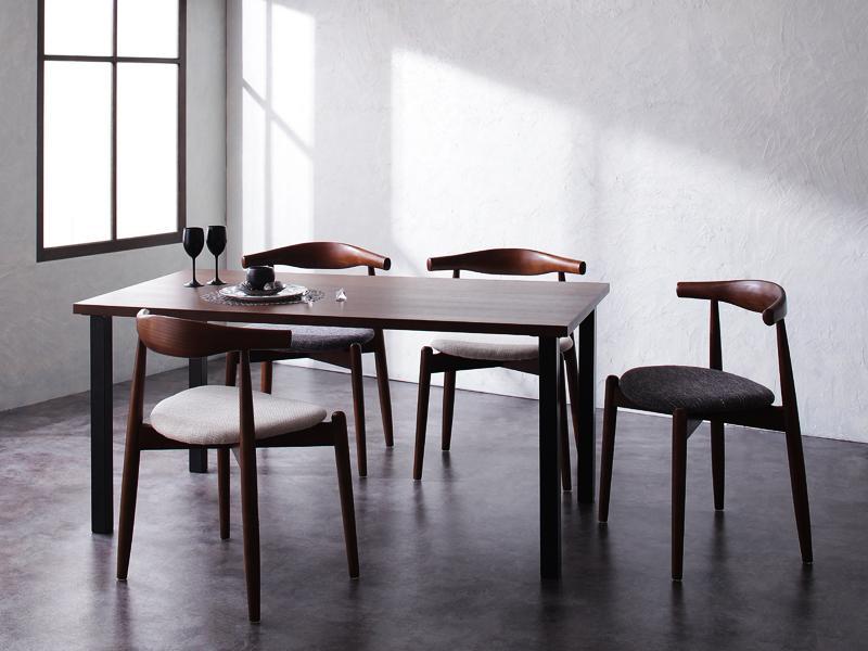 送料無料 デザイナーズダイニングセット 5点Bセット(テーブル 幅150cm+チェアB×4) トムズ 天然木ウォールナット ダイニングテーブルセット 高級感 エルボーチェア ダイニングチェア チェアー 椅子 イス いす テーブルセット 食卓セット ダイニングセット カフェ おしゃれ