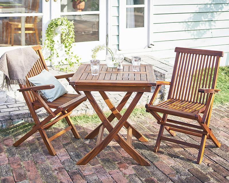 送料無料 ガーデン テーブル セット 3点セットA (テーブル正方形 幅70+チェア(肘有)×2) 折りたたみ チーク天然木 折りたたみ式本格派リビングガーデンファニチャー フォーン ガーデンファニチャーセット 庭 エクステリア テーブルセット ガーデンテーブル 折り畳み