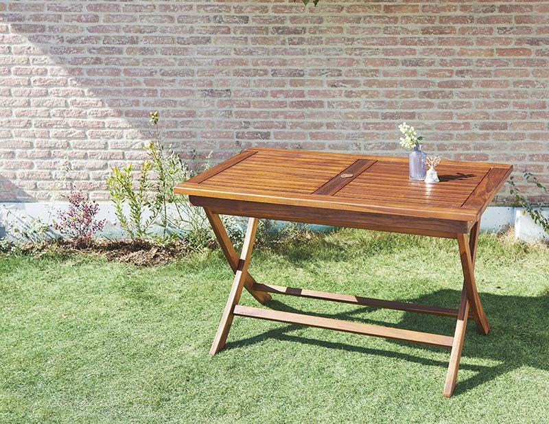 送料無料 ガーデン テーブル単品 120×70cm チーク天然木 折りたたみ式本格派リビングガーデンファニチャー モッソ ガーデンテーブル 机 つくえ テラス ベランダ 屋外 木製テーブル 4人掛け 4人用 コンパクト 折畳み 折り畳み おしゃれ