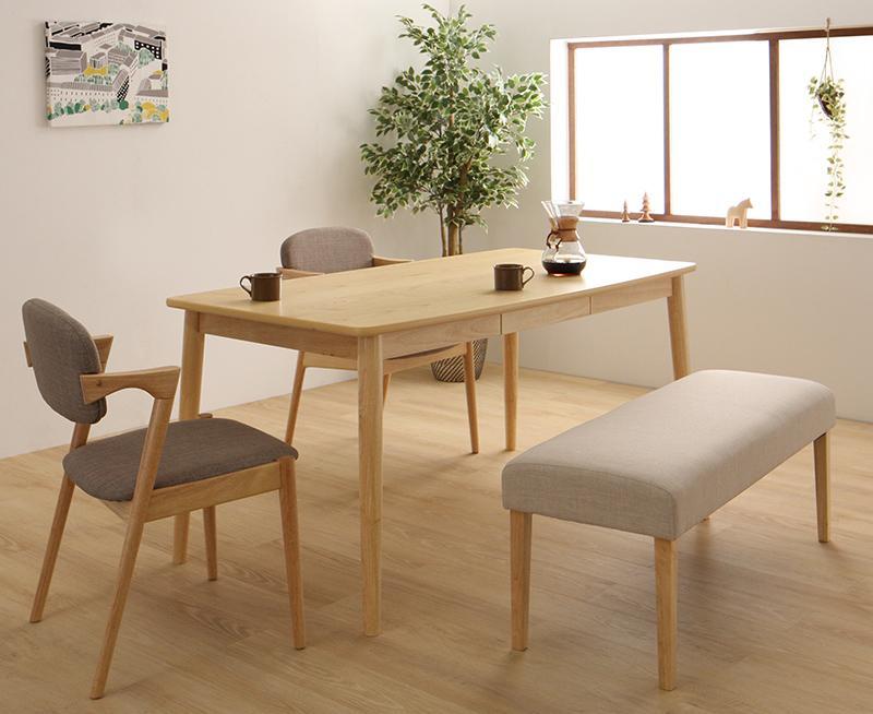 北欧スタイルダイニング OLIK オリック 4点セット(テーブル+チェア2脚+ベンチ1脚) W150