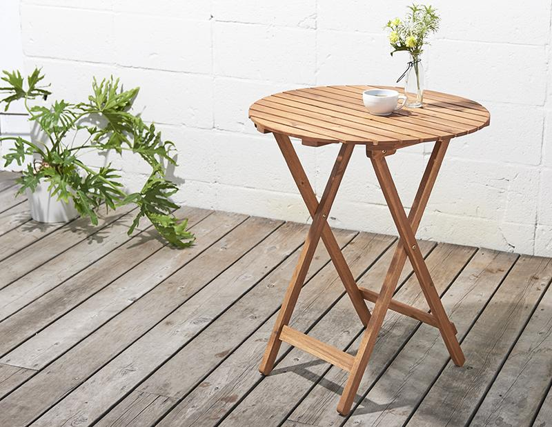 アカシア天然木リクライニング折りたたみ式ガーデンファニチャー Oase オアーゼ テーブル W60 *500024508