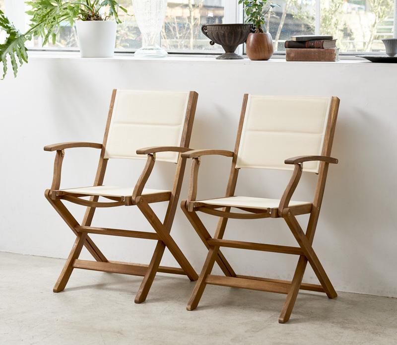 アカシア天然木 折りたたみ式ナチュラルガーデンファニチャー Relat リラト ガーデンチェア 2脚組 肘付き *500024513