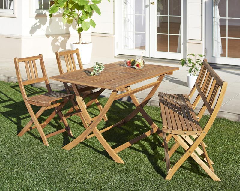 アカシア天然木ガーデンファニチャー Efica エフィカ 4点セット(テーブル+チェア2脚+ベンチ1脚) ベンチ3Pタイプ W120 *500025839