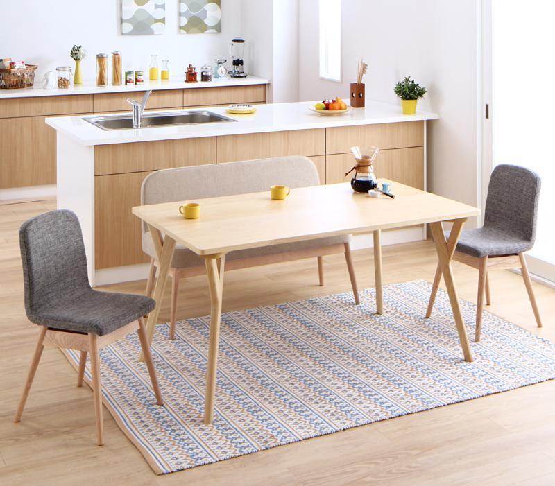 やさしい色合いの北欧スタイル ソファベンチ ダイニング Peony ピアニー 4点セット(テーブル+チェア2脚+ソファベンチ1脚) W140