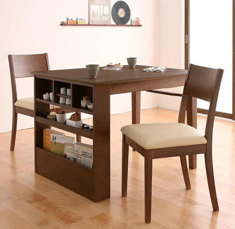 テーブルが伸長(100~135)する棚付きコンパクトダイニングテーブルセット