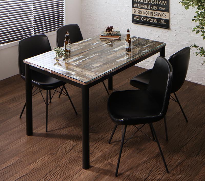 ヴィンテージデザインガラスダイニング volet ヴォレ 5点セット(テーブル+チェア4脚) W130