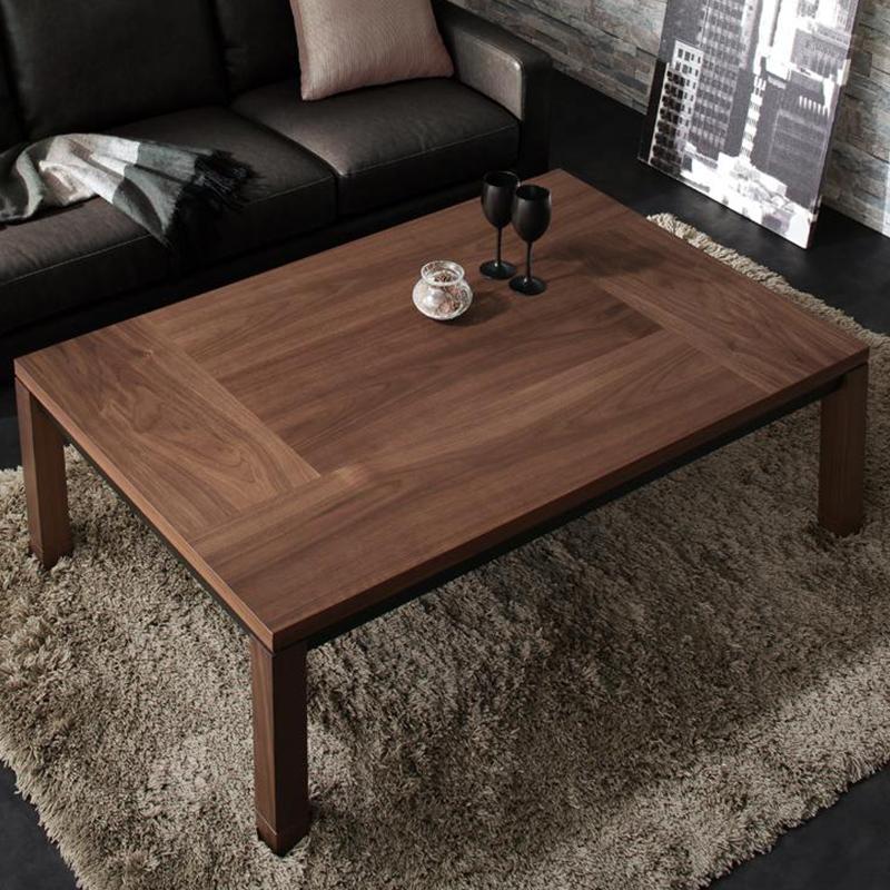 天然木ウォールナット材ブロック調モダンデザイン継脚こたつテーブル Rect レクト 4尺長方形(80×120cm)