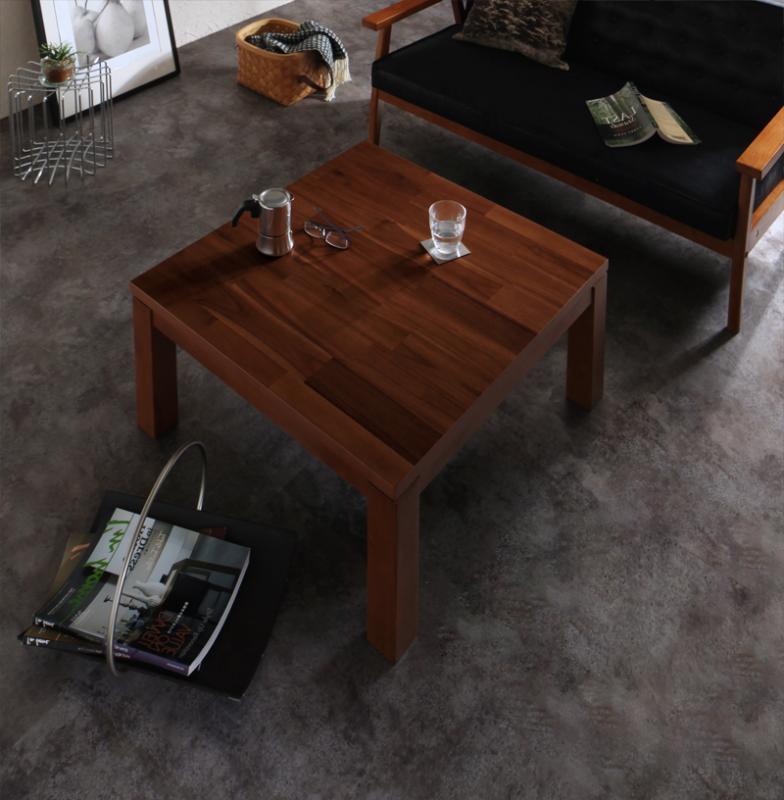 天然木モザイク調デザイン継脚こたつテーブル Vestrum ウェストルム 正方形(75×75cm)