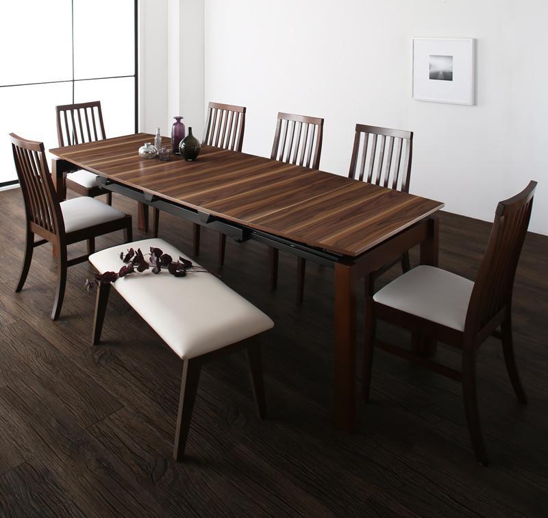【送料無料】 ダイニングテーブルセット 8点セット テーブル 幅140-240cm +チェア6脚+ベンチ1脚 天然木ウォールナット材 ハイバックチェア ダイニング Austin オースティン 伸縮 エクステンション 木製 8人掛け 8人用 角型 食卓 ウォールナット ブラウン ブラック ホワイト