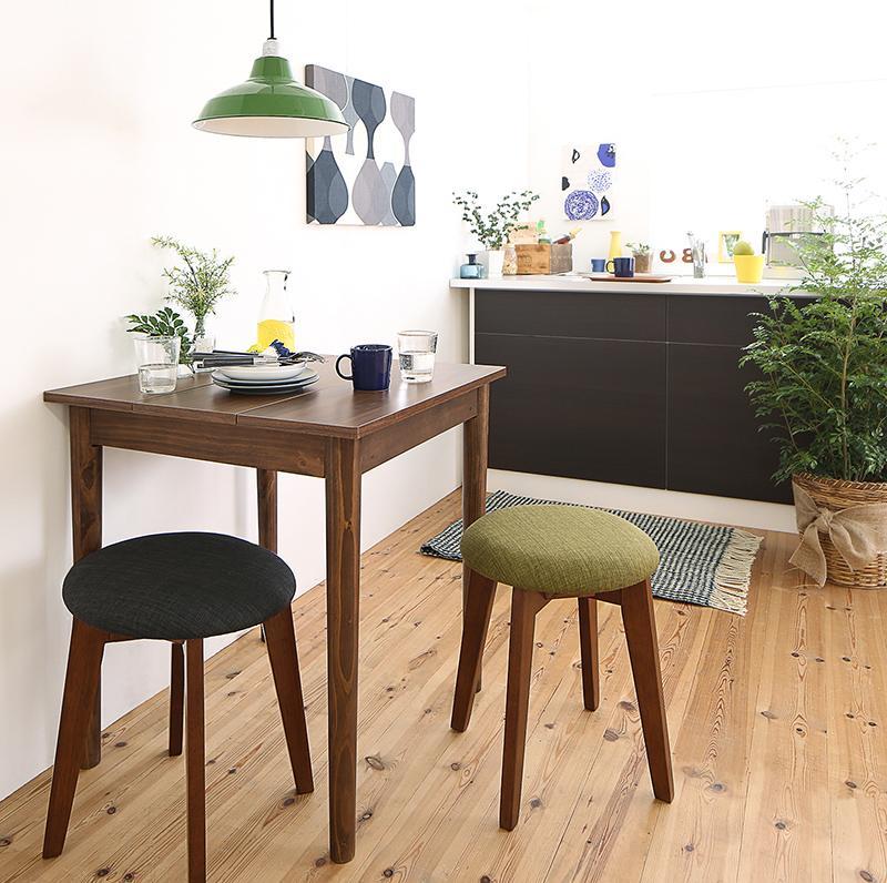 【送料無料】 ダイニングセット 3点セット(テーブル W68 ブラウン +スツール2脚) 1Kでも置ける横幅68cmコンパクトダイニングセット idea イデア 木製 食卓 角型 アイボリー ブラウン ライトグレー ブルー レッド