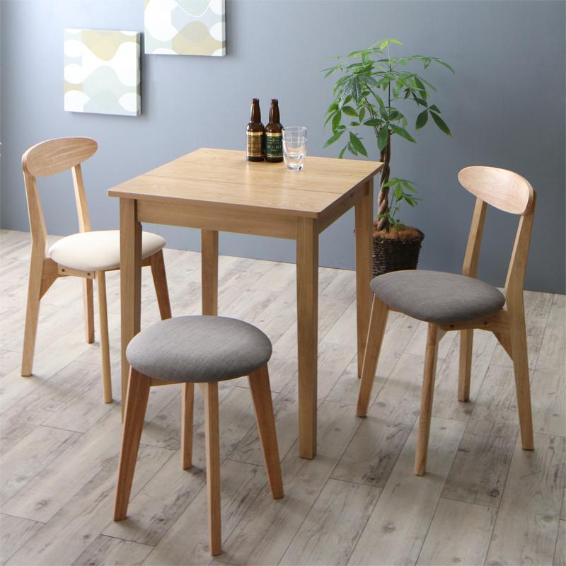 ダイニングテーブルセット 4点セット(テーブル ナチュラル W68+チェア2脚+スツール1脚) 北欧 ダイニング Lucks ルクス 木製 食卓 3人掛け アイボリー ライトグレー