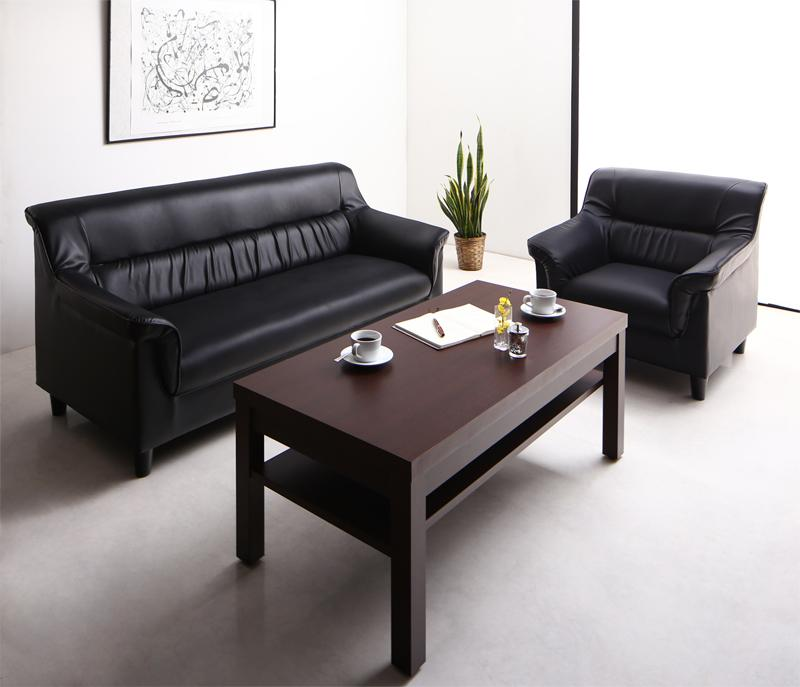 重厚デザイン応接ソファセット Office Road オフィスロード ソファ2点&テーブル 3点セット 1P+2P
