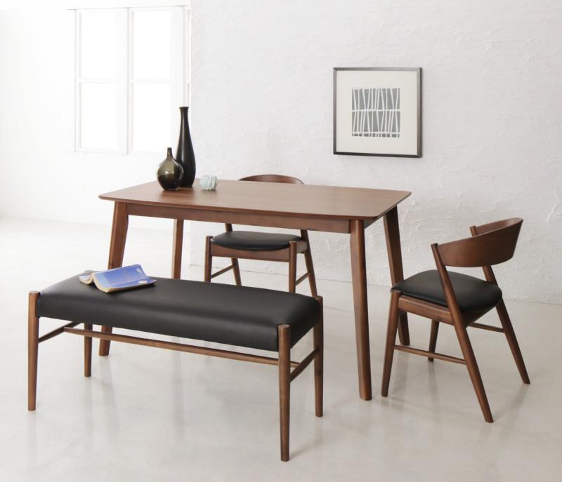 天然木北欧モダンデザインダイニング Chaleur シャルール 4点セット(テーブル+チェア2脚+ベンチ1脚) W130