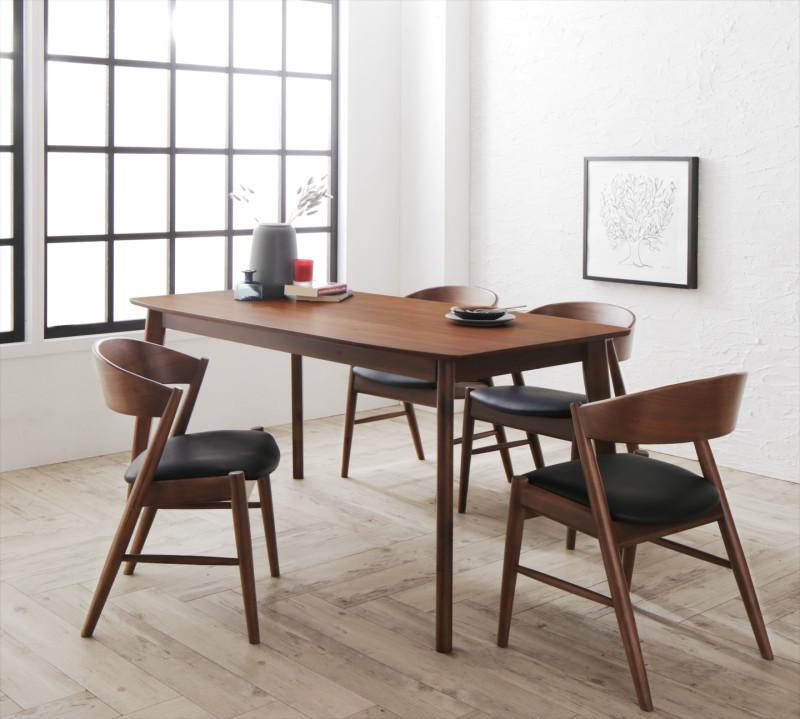 天然木北欧モダンデザインダイニング Chaleur シャルール 5点セット(テーブル+チェア4脚) W150