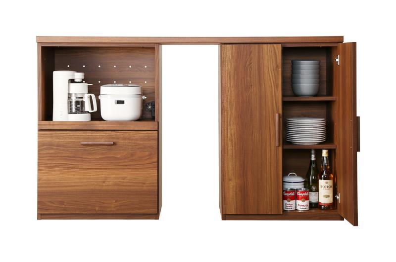 日本製完成品 天然木調ワイドキッチンカウンター Walkit ウォルキット レンジ台+扉付き引き出し 150cm