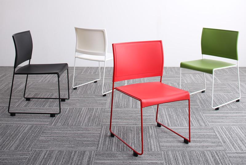 【送料無料】 スタッキングチェアー 4脚組 Sylvio シルビオ 4脚セット オフィスチェア スタッキングチェア パソコンチェア 椅子 イス いす スチール ブラック レッド ホワイト グリーン
