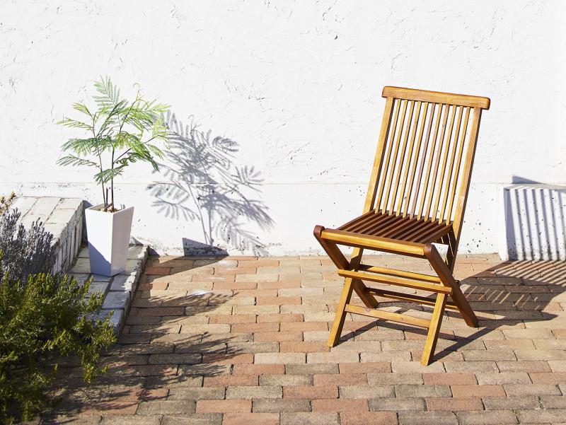 チーク天然木 折りたたみ式ベンチタイプガーデンファニチャー Nobilis ノビリス ガーデンチェア 2脚組