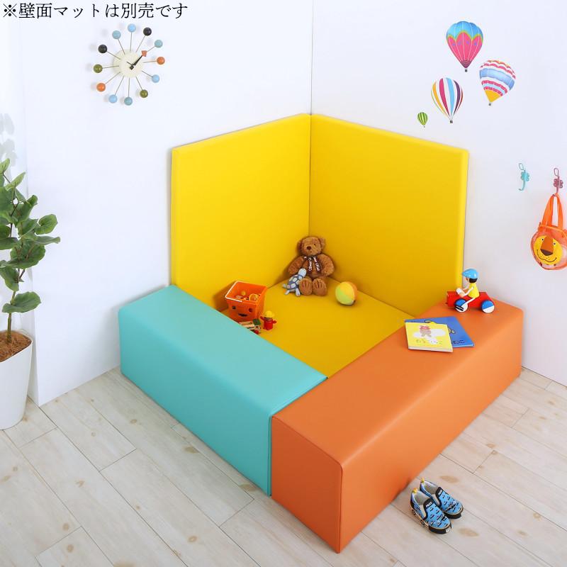 法人様必見。子供に安全安心のコーナー型キッズプレイマット Pop Kids ポップキッズ 5点セット フロアマット2枚+スツール3枚 150×150
