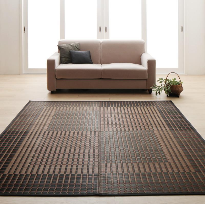 掛川織国産デザインい草ラグ 礎 いしずえ 不織布あり 191×191cm