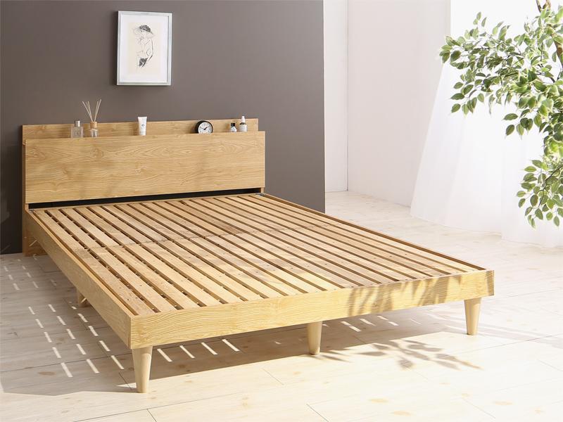 送料無料 棚 コンセント付き デザインすのこベッド ベッドフレームのみ ダブルベッド Camille カミーユ 木製 スノコベッド ダブルサイズ 宮付き スリム おしゃれ 北欧 シンプル