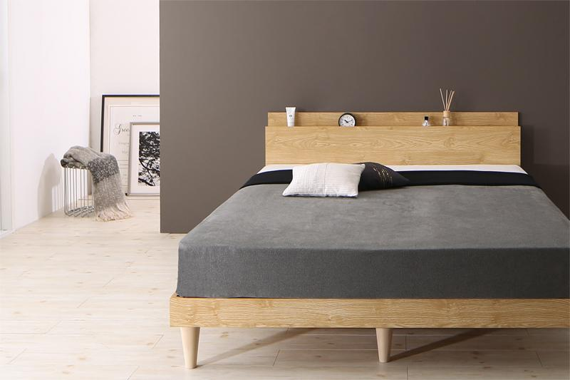 送料無料 棚 コンセント付き デザインすのこベッド ベッドフレーム マットレス付き ダブルベッド Camille カミーユ スタンダードボンネルコイルマットレス付き 木製 スノコベッド ダブルサイズ 宮付き スリム おしゃれ 北欧 シンプル