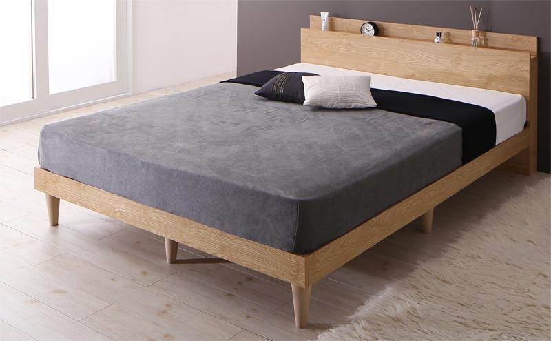 送料無料 棚 コンセント付き デザインすのこベッド ベッドフレーム マットレス付き シングルベッド Camille カミーユ スタンダードポケットコイルマットレス付き 木製 スノコベッド シングルサイズ 宮付き スリム おしゃれ 北欧 シンプル