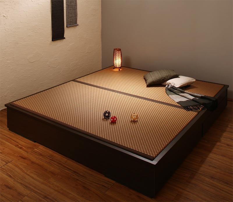 お客様組立 大型ベッドサイズの引出収納付き 選べる畳の和モダンデザイン小上がり 夢水花 ユメミハナ 美草畳 クイーン