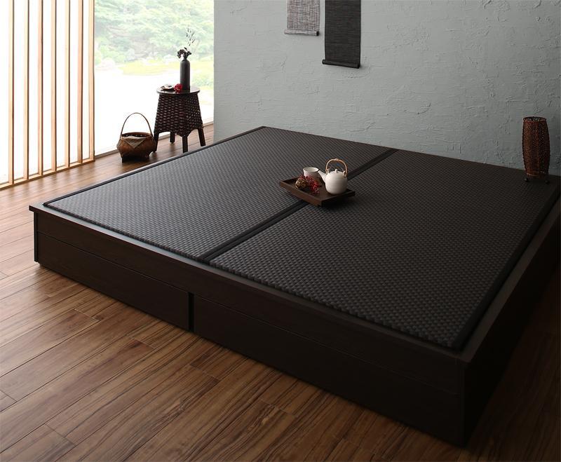 お客様組立 大型ベッドサイズの引出収納付き 選べる畳の和モダンデザイン小上がり 夢水花 ユメミハナ 美草畳 キング