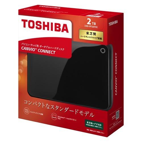 東芝 ポータブルハードディスク CANVIO CONNECT ブラック HD-PF20TK(1コ入)