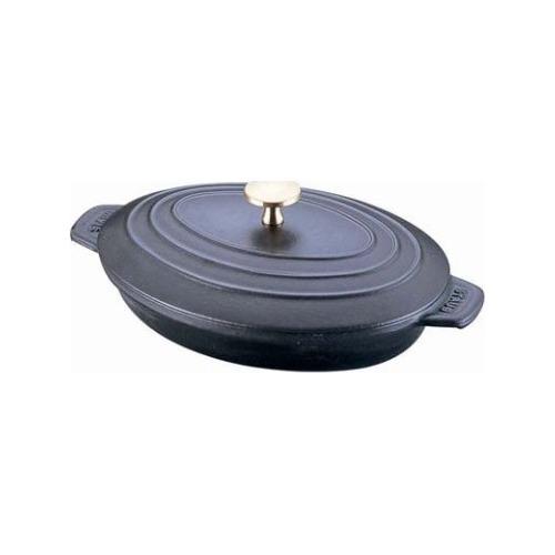 ストウブ オーバルホットプレート(蓋付) ブラック 23cm 40509-582(1コ入)