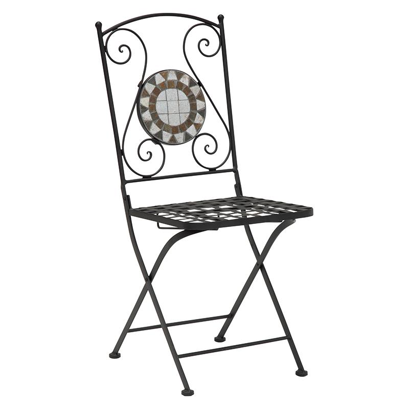 送料無料 2脚セット チェア ガーデンチェア イス 椅子 ガーデンチェアー モザイク模様 花崗岩 おしゃれ LC-4506