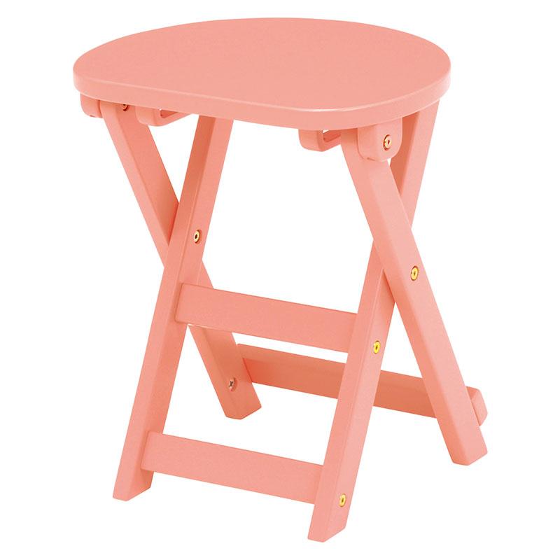 送料無料 スツール 折りたたみスツール 折りたたみ式 木製 椅子 木製 おしゃれ いす イス 1人掛け 1人用 コンパクト フラワースタンド 花台 サイドテーブル ソファーサイド ベッドサイドテーブル 北欧 モダン ライトピンク VH-7963LPI