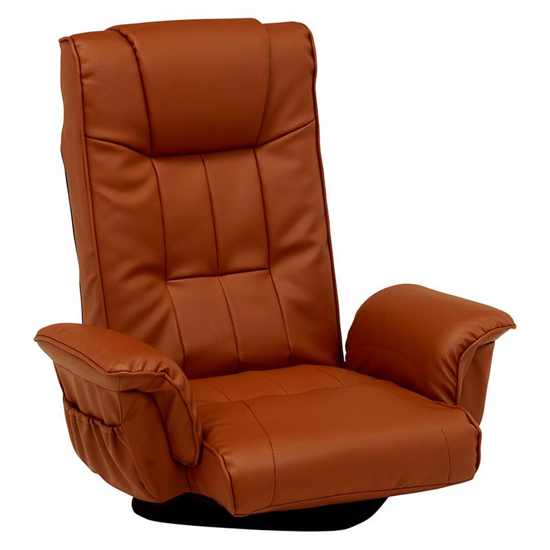 送料無料 2台セット 座椅子 回転 肘掛け 肘付き リクライニング ハイバック イス 椅子 チェアー 回転式 ポケット付き ブラウン 茶 おしゃれ LZ-4372MK