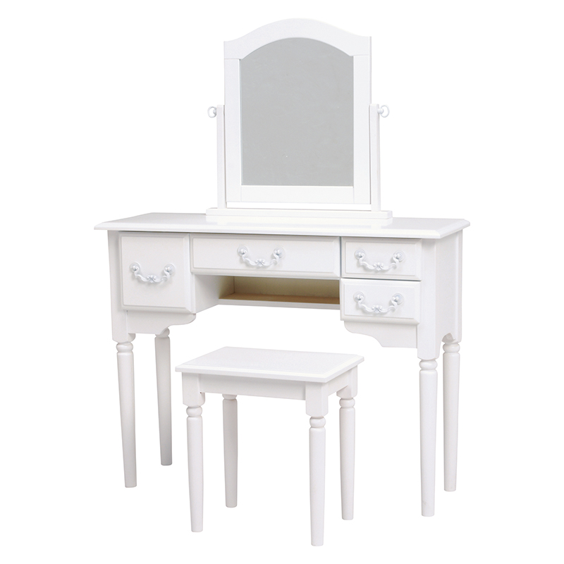 送料無料 ドレッサー スツール セット ドレッサーテーブル ホワイト 椅子付き ドレッサーデスク 1面鏡ドレッサー 化粧台 椅子 イス 鏡台 メイク台 白 アンティーク エレガント モダン 姫系 かわいい 可愛い おしゃれ 引き出し 白家具 MD-5745WH-S