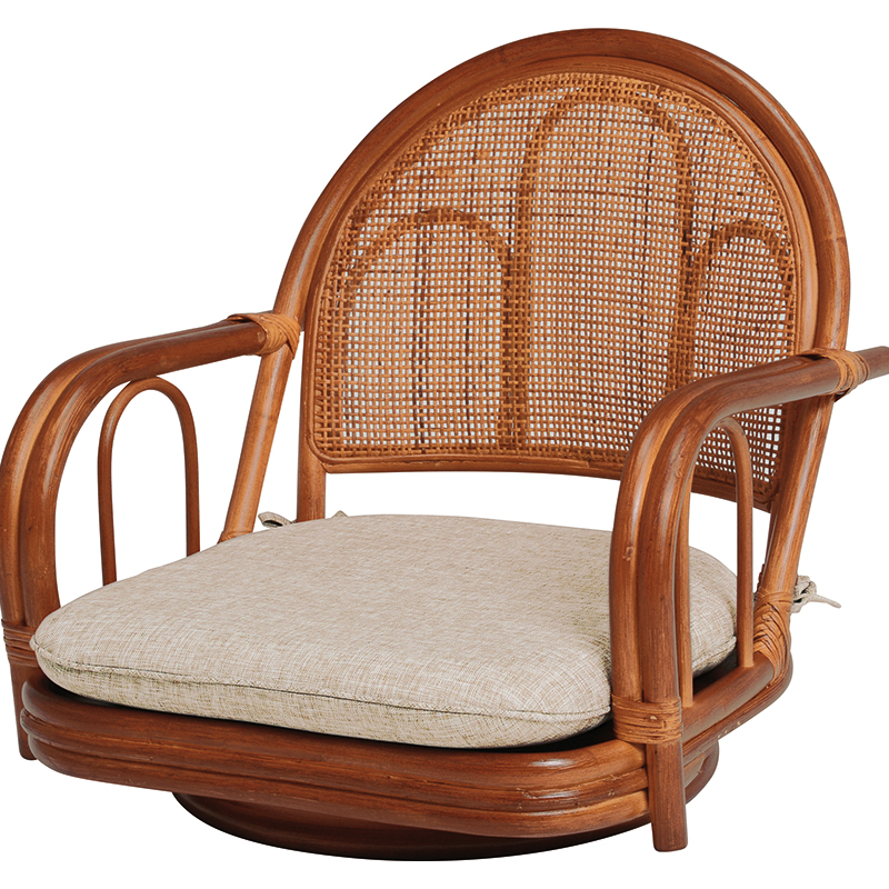 送料無料 2脚組 座椅子 ロータイプ 肘掛け 一人掛け 2脚セット 籐楽々座椅子 籐 タラン 肘付き 籐チェアー 1人 おしゃれ 木製 椅子 チェア イス チェアー RZ-941BR