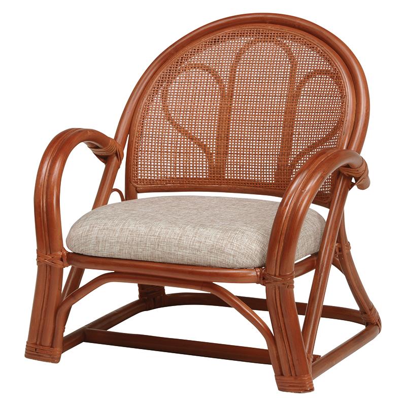 送料無料 2脚組 座椅子 2脚セット ローミドルタイプ 籐楽々座椅子 籐 タラン 肘付き 肘掛け 一人掛け 籐チェアー 1人 おしゃれ 木製 椅子 チェア イス チェアー RZ-671BR