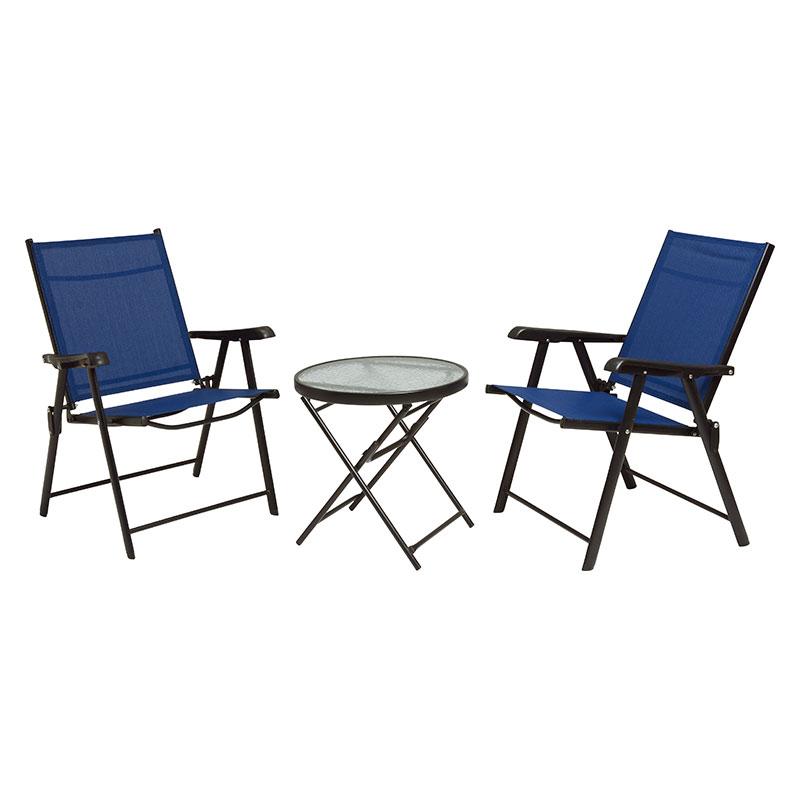 送料無料 テーブル チェア2脚セット 3点セット ガーデンファニチャーセット 折りたたみ 折り畳み ガラステーブルおしゃれ カフェ テラス ネイビー LGS-4682S-NV