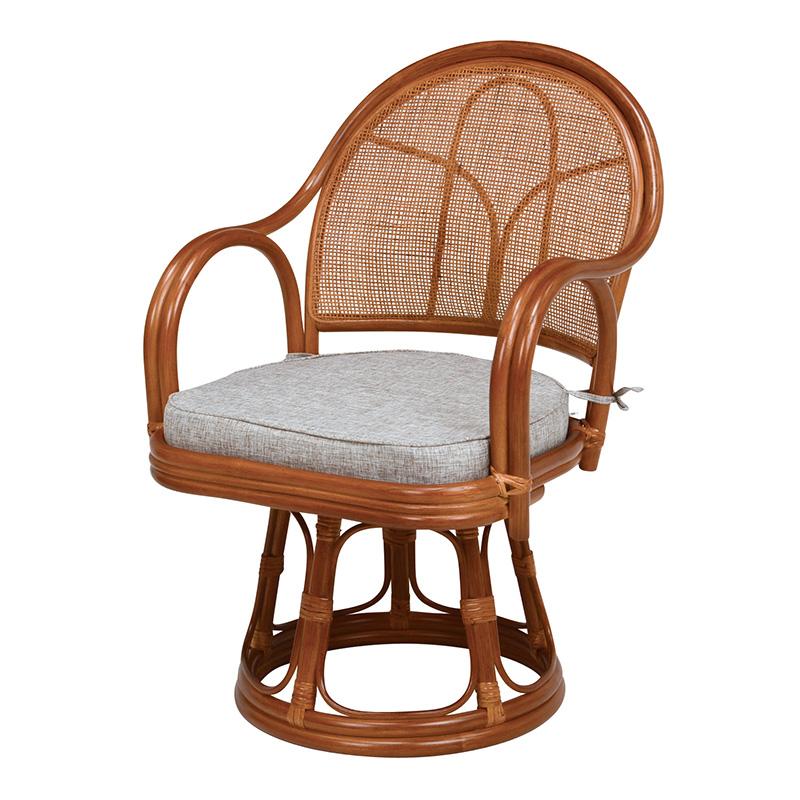 送料無料 回転座椅子 ミドルタイプ 籐チェアー 回転式 肘掛け 一人掛け 高座椅子 座いす ザイス おしゃれ 和モダン シンプル RZ-635BR
