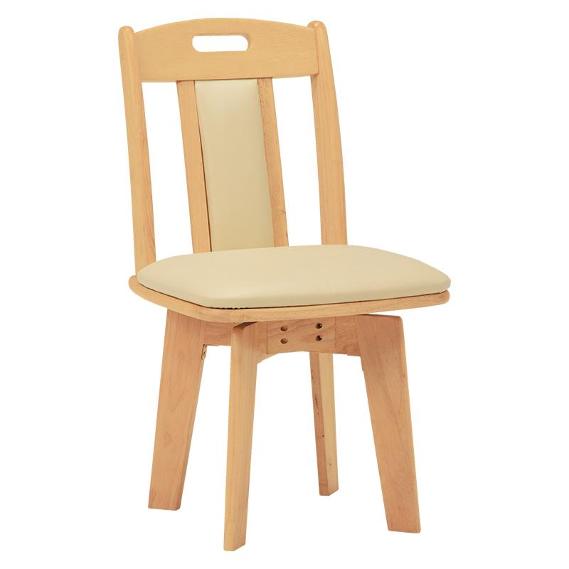 送料無料 ダイニングチェアー【2個セット】 回転 木製 食卓椅子 レザー ナチュラル 回転ダイニングチェアー いす イス 2脚セット 椅子【KC-7581NA】