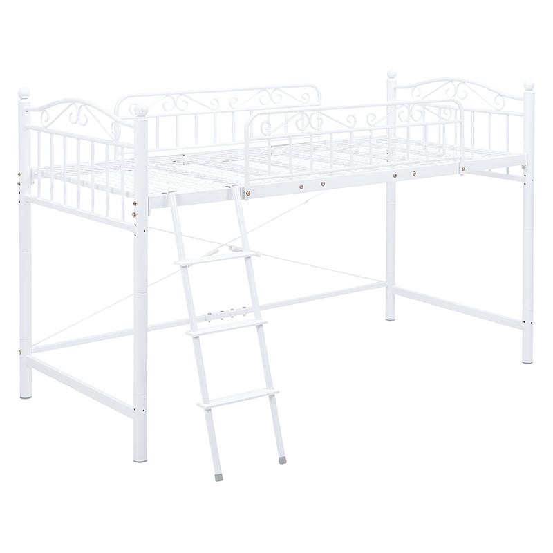 送料無料 ロフトベッド ロータイプ シングルベッド 姫系 パイプベッド ロフトベット ベッド シングルサイズ パイプロフトベッド ベット はしご 一人暮らし 女の子 子供部屋 おしゃれ 白 ホワイト KH-3526M-WH