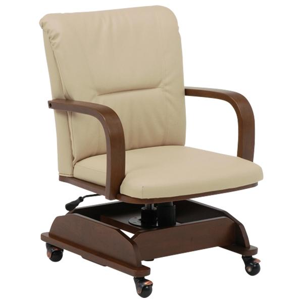 送料無料 コタツチェアー こたつ椅子 回転式 ロッキング 昇降式 キャスター式 いす 回転椅子 回転チェアー イス 回転ダイニングチェアー リビングチェア レザー 食卓椅子 食卓チェアー 北欧 ブラウン KOC-7019BR