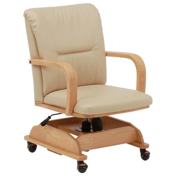 送料無料 コタツチェアー こたつ椅子 回転式 ロッキング 昇降式 キャスター式 いす 回転椅子 回転チェアー イス 回転ダイニングチェアー リビングチェア レザー 食卓椅子 食卓チェアー 北欧 ナチュラル KOC-7019NA
