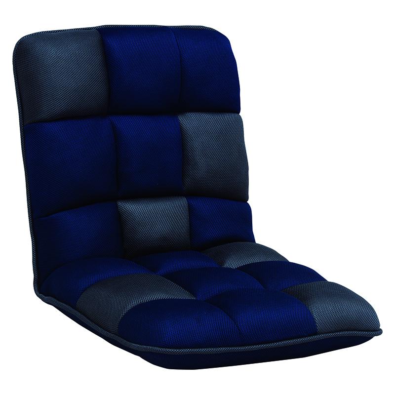 送料無料 ブロックデザインリクライニング座椅子【6個セット】 コンパクト チェア 6点セット おしゃれ ネイビー フロアチェア【LZ-4265NV】