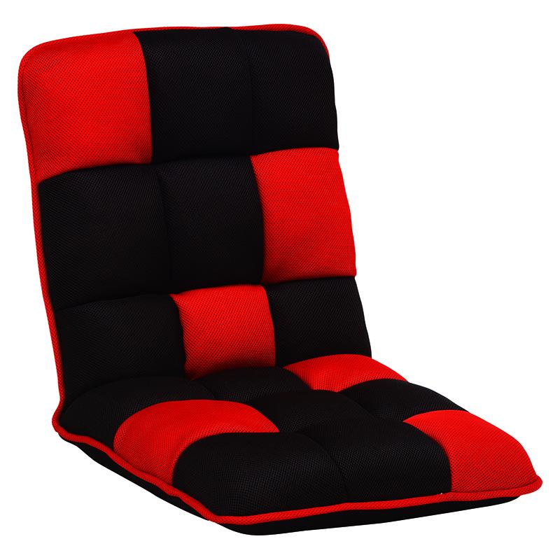 送料無料 ブロックデザインリクライニング座椅子【6個セット】 チェア 6点セット コンパクト レッド おしゃれ フロアチェア【LZ-4265RE】