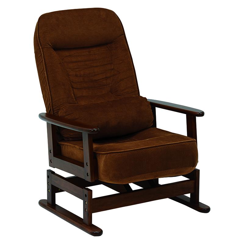 送料無料 クッション付リクライニング高座椅子 折りたたみ ブラウン チェア 肘掛け 落着いたデザイン 和室【LZ-4742BR】