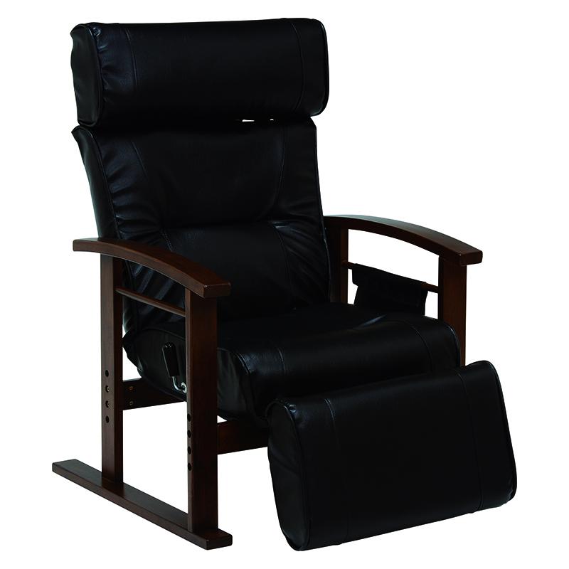 送料無料 リクライニング高座椅子 ヘッドレスト、足置き チェア 肘掛け 高級感 ブラック 大人向けデザイン 高さ調整 書斎【LZ-4758BK】