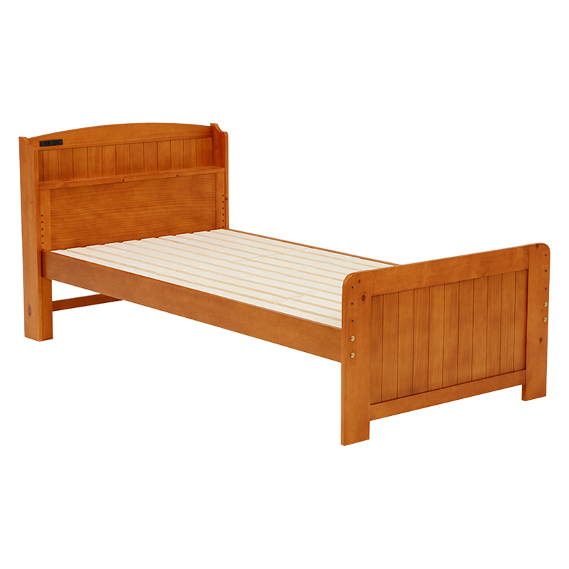 送料無料 すのこベッド 木製 頑丈 シングルサイズ 高さ調節 高さ調整 カントリー調 宮棚付 1人暮らし 収納 スペース フロアベッド フレームのみ シングルベッド ベット すのこ 2口コンセント付 一人暮らし おしゃれ ブラウン MB-5016S-BR