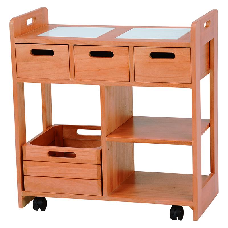送料無料 キッチンワゴン 木製 キッチン収納 移動式 ナチュラル 天板タイル【MUD-6409NA】