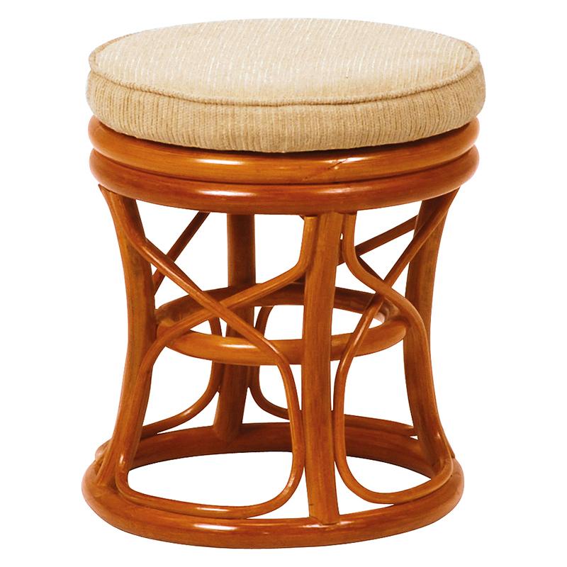 送料無料 回転ラタンスツール【4個セット】 ナチュラル シンプル 椅子 チェア【RH-578NA】